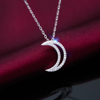 Fashion zircon moon 925 sterling silver necklace