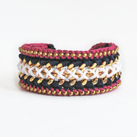 Woven chain bracelet with beads, crochet bracelet, chunky chain bracelet, navy blue, white and pink