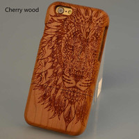 Lion head Cherry Walnut Pear Bamboo Wood Grain Cell Phone Case For iPhone
