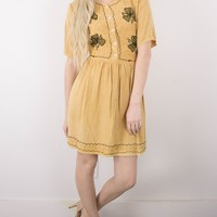 Vintage 70s Floral Mustard Hippie Mini Dress