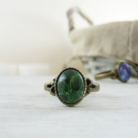 Green Leaves Ring, Nature Jewelry, Tiny Ring, Green Ring Glass Photo Ring, Woodland Jewelry, Photo Jewelry, Glass Ring, Photo Ring Leaf Ring