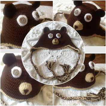 Hand Crochet bear face w/ ears & Shell Button Eyes, earflaps hat Brown, Polar, White, Black Child Teen Adult Beanie Photo Prop
