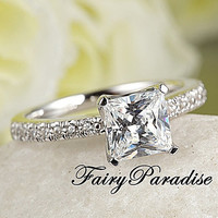 1 Ct Princess Cut (6 mm) Man Made Diamond Solitaire Engagement Ring / Promise Rings in Sterling Silver Pave Band  ( Fairy Paradise ) ZDR64