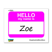 Zoe Hello My Name Is Sticker