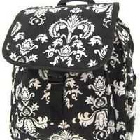 World Traveler Black White Floral Damask 14-inch Multipurpose Backpack