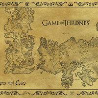 Game Of Thrones Antique Map of Westeros & Essos