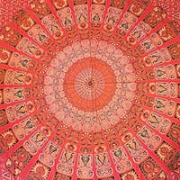 Hippie Tapestry, Hippy Mandala Bohemian Tapestries, Indian Traditional Red Ethnic, Psychedelic Wall Hanging, College Dorm Decor, Queen Bedspread, Tablecloth 95x82 inch
