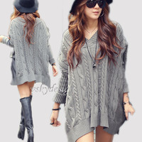 Winter Fall Woman Cable Sweater V Collar Thick Warm Pullover Sweater Dress Knitting Knitwear Long Sleeve White Gray