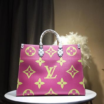 LV  Women Leather Shoulder Bag Shopping Satchel Tote Bag Handbag