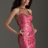 Clarisse 2463 - Hot Pink Sequin Illusion Homecoming Dresses Online