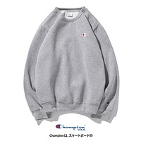 Champion New fashion embroidery logo couple long sleeve top sweater Gray