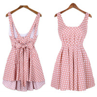 Wave Point Backless Bowknot Dress for Girl