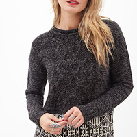 LOVE 21 Marled Abstract Pattern Sweater Charcoal/Ivory