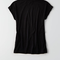 Don't Ask Why Fitted Mock Neck T-Shirt, Black