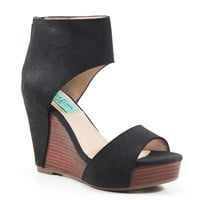 Diba True Shoes Shimmy Down High Heel Black Leather Wedge Sandals