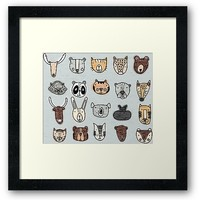 'Wild Animal Portraits in Blue Gray Texture' Framed Print by DoucetteDesigns