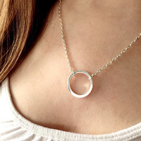 Circle Pendant Necklace - Dainty Forever Circle Necklace - Eternity Necklace - Karma Infinity Necklace - Minimalist Jewelry