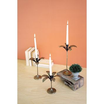 Set Of 3 Antique Brass Palm Tree Candle Holders