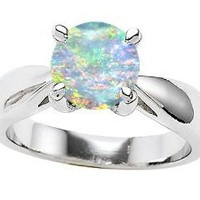 Star K 7mm Round Simulated Opal Ring Sterling Silver