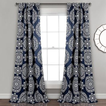Navy Boho Mandala Room Darkening Window Curtains