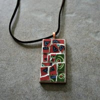 Etsy Mosaic Pendant - Samantha - Broken China, Stained Glass, Retro, Wearable Art, Pink Blue Green, Vintage, Gift Idea