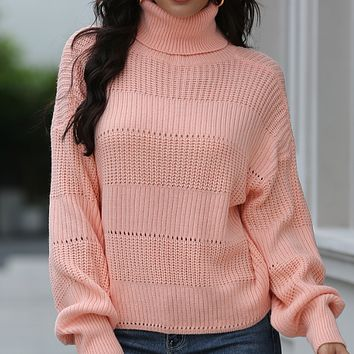 New hot sale high neck hollow loose knit pullover