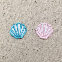 Small - Seashell - Color Choice: Aqua Blue or Light Pink - Sea Shell - Embroidered Patch - Iron on Applique - WAC052417