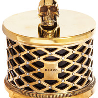 D.L. & Co Skull Candle with Brass Lattice and Swarovski Crystals