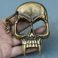 Skull Skulls Halloween Fall  Shipping  Collect China Old Bronze  Skeleton Head self protection Boxing buckle Rings Calavera