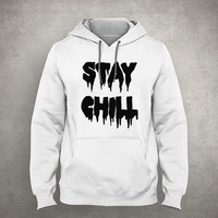 Stay chill - Dripping & melting style - Gray/White Unisex Hoodie - HOODIE-030