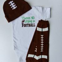 No Crying Football Baby Boy Bodysuit or Gown For Your Little Sports Fan Leg Warmers Beanie Hat Options