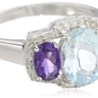 Sterling Silver Aquamarine, Amethyst and Diamond 3-Stone Ring, Size 7