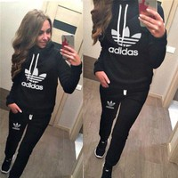 Adidas Casual Print Hoodie Top Sweater Pants Trousers Set Two-piece Sportswear-1