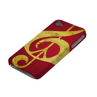 Red iPhone Case, 5, 4S, 4, 3GS or 3, Music & Peace Sign, Sleek, Red, Gold, Black, Mustard, Yellow, Glee, Fall, Christmas, Holidays