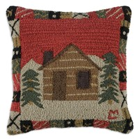 """Crowsnest Cabin 18"""" Hooked Wool Pillow"""
