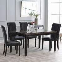 Modern 60 x 36 inch Espresso Dining Table with Faux Marble Top