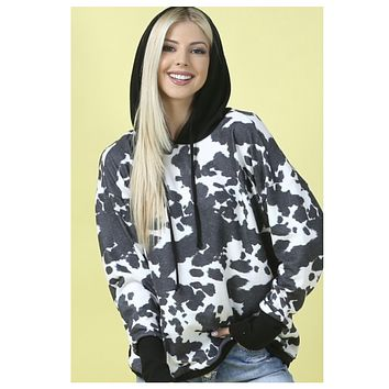 Adorable Ultra Soft Cow Print Hacci Hoodie