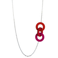 Wool felt long small three-ring necklace