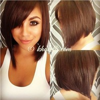 Trendy Natural Inclined Bang Capless Charming Silky Straight Heat Resistant Synthetic Wig For Women