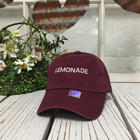 LEMONADE Baseball Hat Low Profile Embroidered BURGUNDY Baseball Caps Dad Hats White Thread
