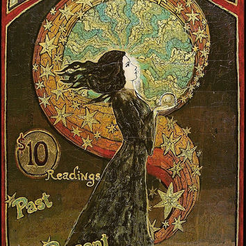 Psychic Fortunes Print - Art Nouveau Gypsy Circus Poster 16x24