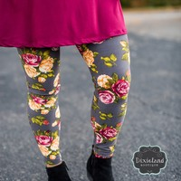 Gray Floral Leggings