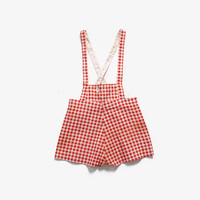 Vintage 40s Deadstock Romper / 1940s Unworn Red Gingham Feedsack Cotton Overalls Jumper Onesuit 4T
