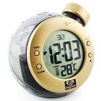 Multifunctional Water Energy Alarm Clock Used as a Thermometer, Cute Home Decoration or a Creative Wedding Gift, Environment-friendly Alarm Clock with Modern Design Stlye (Golden)