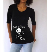 Maternity Halloween shirt  Kick or Treat  with by DJammarMaternity