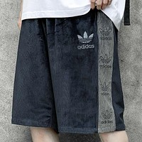 Adidas New fashion embroidery letter leaf sports leisure shorts
