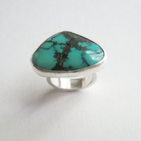 Turquoise Ring - Size 4 - Green Turquoise - Sterling Silver - Natural Stone - Handmade Jewelry - Anillo - Bague