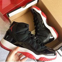 Air Jordan 11 Fashionable Men Casual Sneakers Sport Basketball Shoes Black&Red