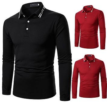 Men's Solid-color Embroidered Long-sleeved Shirts