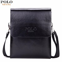 Solid Double Pocket Soft Leather Men Messenger Bag Small 2 Layer Mens Travel Bag Mens Bag For Phone